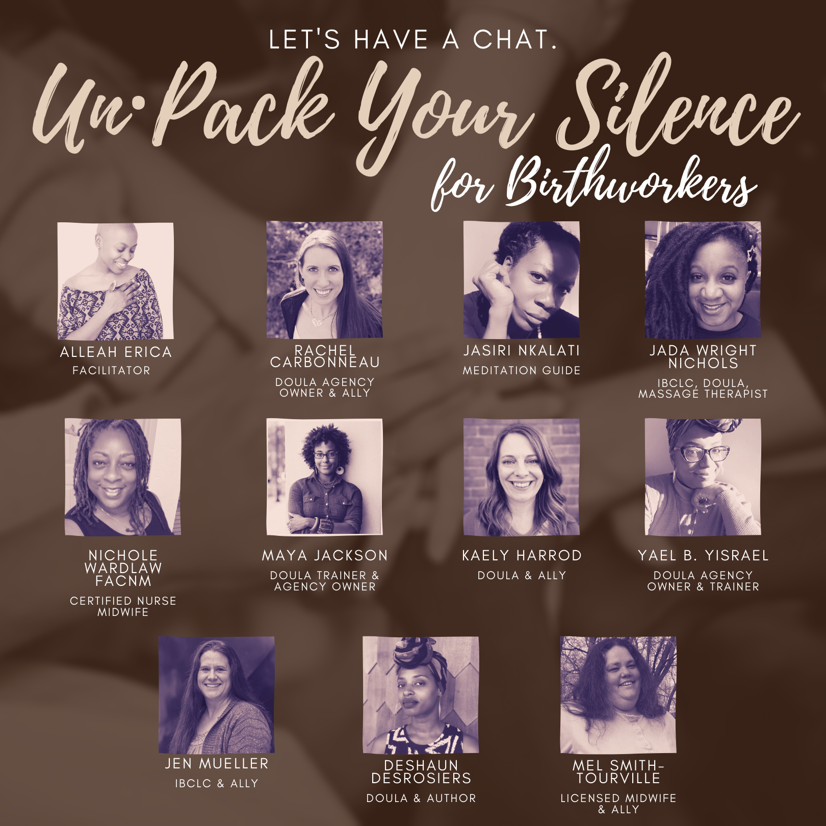 The Panellists of the un·Pack Your Silence for Birthworkers