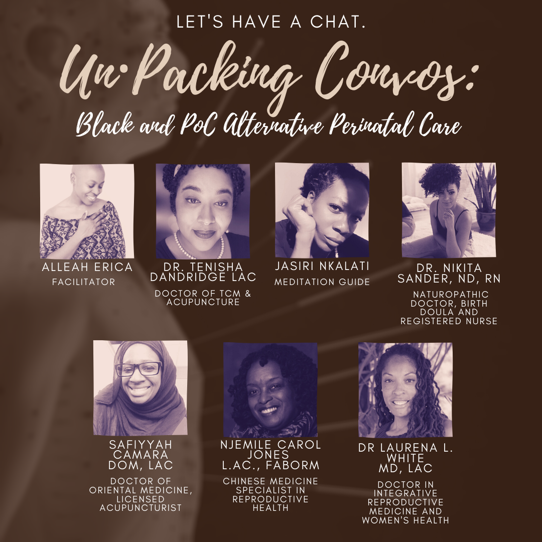 Headshot Pictures of the Panellists for the Black and POC Perinatal Care Workshop for un·Packing Convos
